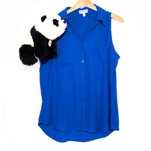Express bright blue button sleevless blouse